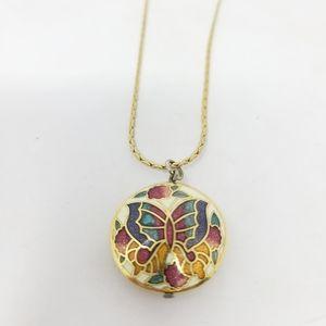 Jewelry - Cloisonne enamel gold tone double sided butterfly
